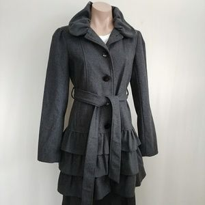 CANDIE'S PUFF COLLAR RUFFLE BOTTON PEACOAT BUTTON